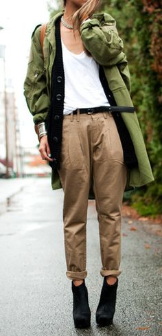 khakis + army green - this may be too boyish and baggy for some women who need to soften a look.  Clean up the lines a bit - Imagine this with sleek-fitted and hemmed at the ankle, khaki pants and footwear that is lighter in style.
