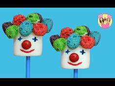 CLOWN MARSHMALLOW POPS - circus or carnival party food how to DIY recipe...