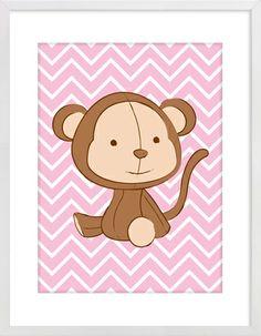 Monkey on Pink Zig Zag Nursery Wall Print to brighten up your kid's room. Artwork prices start at $7.00. #nurserywallprints #monkey #pink #zigzag #chevron