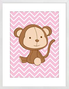Monkey on Pink Zig Zag Nursery Wall Print to brighten up your kid's room. Artwork prices start at $7.00. #nurserywallprints #monkey #pink #zigzag #chevron