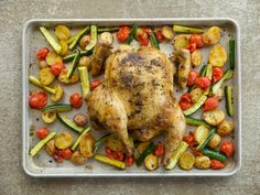 Get Spatchcock Chicken Sheet Pan Supper Recipe from Food Network