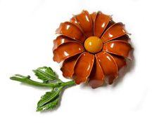 """Vintage 3"""" Enamel Dimensional Cinnamon Brown Flower Brooch Pin by SoBejeweled on Etsy https://www.etsy.com/listing/117888302/vintage-3-enamel-dimensional-cinnamon"""