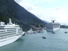 Juneau, Alaska.  There were 3 cruise ships when we docked.  Crazy tourist scene.  I bet the locals love the quiet time when they have their town to themselves.