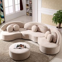 Modern Modular Sofa Round Sectional Sofa Beige Velvet Upholstered Modular Sofa with Ottoman & Pillows - Sectionals - Living Room Furniture - Furniture Gebogenes Sofa, Sofa Pillows, Sofa Set, Cushions, Throw Pillows, Couches, L Couch, Cozy Sofa, Ottoman Sofa