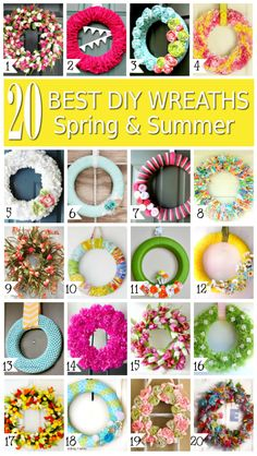 Make your own gorgeous Spring and Summer DIY wreaths! These 20 DIY wreaths are perfect for indoor and screened porch decor and front door wreaths!