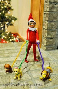 Dog Walking Elf on the Shelf by Picklehead Soup and other last minute Elf of the Shelf ideas!