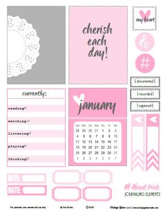 Free All About Pink Journaling Cards and Labels from Vintage Glam Studio
