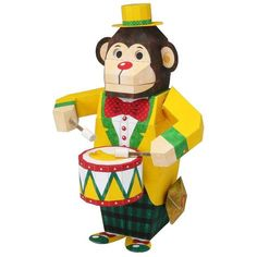 FREE PRINTABLE Monkey Drummer,Toys,Paper Craft,play,mechanical toy,monkey,Drum ,Moving toy