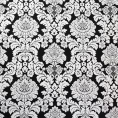5-yard-Lot-Michael-Miller-black-and-white-De-Lovely-Damask-LARGE-print-45-w