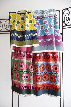 kokka fabric - floral stripes