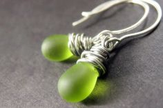 STERLING SILVER Wire Wrapped Earrings  Grass by TheTeardropShop, $26.00 I like this!