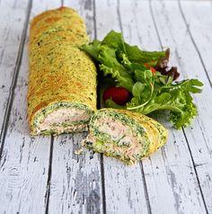 Pannenkoek/omelet van spinazie, gevuld met tonijnsalade ♥ Foodness - good food, top products, great health