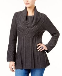 Style & Co Petite Cowl-Neck Tunic Sweater, Created for Macy's - Black P/XS
