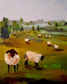Irish Sheep No. 3, painting by artist Delilah Smith