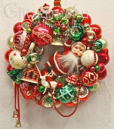 Traditional Polish Christmas Ornaments | Vintage Ornament Wreath SANTAS GREETING with by GlittermoonCards