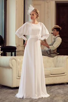 Cheap vestido de noiva, Buy Quality bride gowns directly from China de noiva Suppliers: Charming 2016 New Long sleeve with sash Bridal Gowns Muslim Wedding Dress A-line Chiffon Bride Gowns vestido de noiva Costura Fashion, Fashion Moda, Fashion Sewing, Hijab Fashion, Modest Fashion, Fashion Fashion, Modest Wedding Dresses, Bridal Dresses, Party Dresses