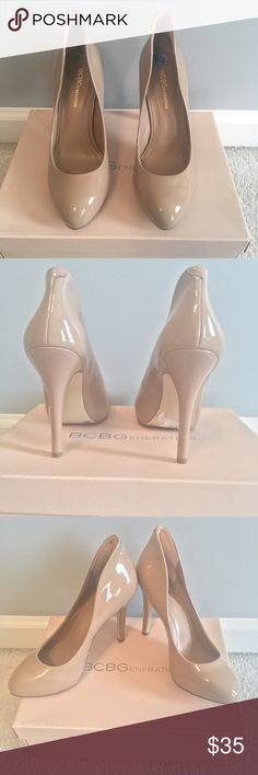 BCBG Generation Nude Patent Leather Pump Heels BCBG Generation Nude Patent Leather Pump Heels. Size 6.5. Ultra Chic and Classic Nude Pumps. Never worn, purchased as store display. Box not included. BCBGeneration Shoes Heels