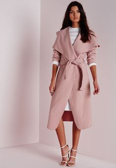 648d23950ed3d Missguided - Belted Waterfall Coat Mauve Trench Coat Outfit, Belted Coat,  Trench Coats,