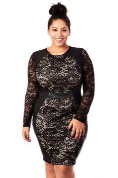 c43b4faac96 Plus Size Designer Lace Contrast Hourglass Dress Trendy Plus Size Clothing