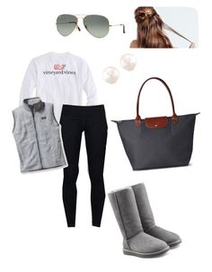 """Preppy Lazy Day"" by sjkish on Polyvore featuring Vineyard Vines, lululemon, UGG Australia, Patagonia, Ray-Ban and Longchamp"