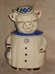 Vintage 1940s Shawnee Pottery Winnie Cookie Jar Smiley Pig Blue ...