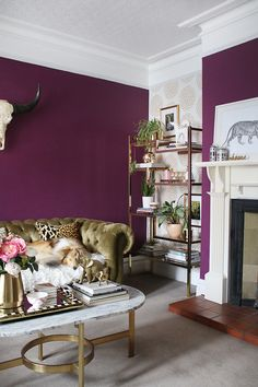 Deep plum living room with gold accents and styled shelving unit Plum Living Rooms, Living Room Images, Simple Living Room, Small Living, Living Room Furniture Layout, Living Room Shelves, Living Room Decor, Dining Room, Plum Room