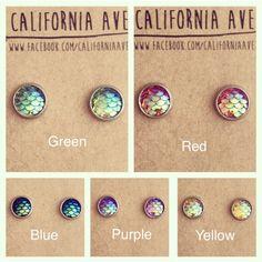 Mermaid Earrings 10mm hypoallergenic by CaliforniaAve on Etsy