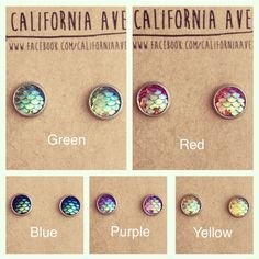 Mermaid Earrings 10mm hypoallergenic by CaliforniaAve on Etsy