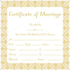 Marriage Certificate Template Microsoft Word  Marriage Records