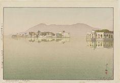 Hiroshi YOSHIDA. (1876-1950) Island Palaces in Udaipur (Udaipuuru no shima goten).1932