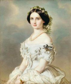 Louise, Grand Duchess of Baden (nee Princess Louise of Prussia) By Franz Xaver Winterhalter 1856 Victorian Paintings, Victorian Art, Victorian Women, Franz Xaver Winterhalter, Classic Paintings, Beautiful Paintings, Princess Louise, Images Vintage, Historical Costume