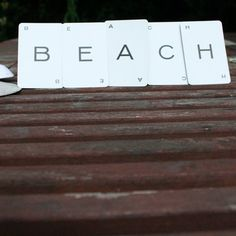 beach home decor vintage game card letters