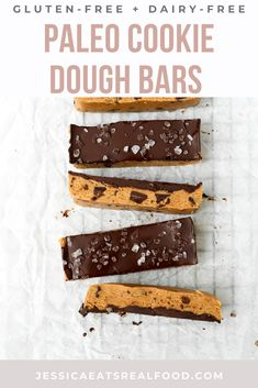 These Paleo No Bake Cookie Dough Bars are the easiest, most decadent sweet treat. They come together in minutes, no cooking required and they taste like Nestle Tollhouse…but better. They use nut butter, almond flour + maple syrup to keep these gluten-free, dairy-free and refined sugar-free! Paleo No Bake Cookies, No Bake Cookie Dough, Chocolate Chip Cookie Dough, Sweet Recipes, Real Food Recipes, Snack Recipes, Dessert Recipes, Paleo Sweets, Paleo Dessert