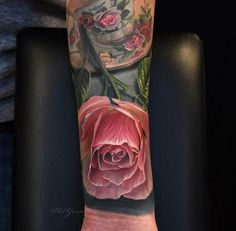 A gorgeous pink rose by Phil Garcia. #inked #tattoo #floral #rose #flower #tea #cup #feminine