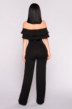 Ready To Ruffle Jumpsuit - Black – Fashion Nova Fashion Nova Jumpsuit, Classy Work Outfits, Ruffle Jumpsuit, Swimsuits For Curves, Mode Outfits, Jumpsuits For Women, Look Fashion, Ideias Fashion, Fashion Dresses