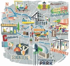 Retro #map with sights in #Berlin, by Anna Simmons