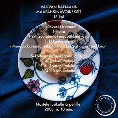 Vauvan banaani-maapähkinävoikeksit Baby Snacks, Mango, Healthy Snacks, Healthy Recipes, Baby Food Recipes, Cooking Tips, Easy, Sweet Tooth, Plates