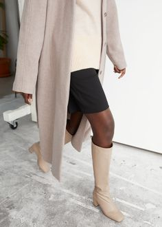 Squared Knee High Leather Boots - Beige - Knee high boots - & Other Stories GB