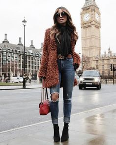 Women Clothing Cute rust shaggy jacket over black top and trendy distressed denim jeans with chic leather belt. Women Clothing Source : Cute rust shaggy jacket over black top and trendy distressed denim jeans Booties Outfit, Fur Coat Outfit, Fall Winter Outfits, Autumn Winter Fashion, Casual Winter, Fall Fashion, Style Fashion, Fashion Black, Fashion Fashion