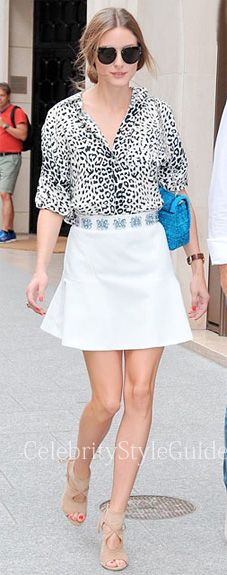 Seen on Celebrity Style Guide: Olivia Palermo wore a leopard print blouse, white trumpet skirt and beige suede cutout sandals by Aquazzura in Paris with her boyfriend Johannes Huebl on July 2nd 2013
