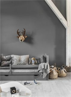 Grey + grey . How cute is this styling?