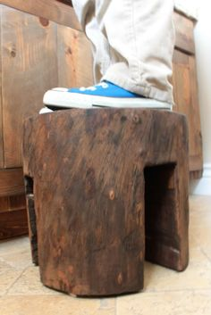 Wooden Stool from Log
