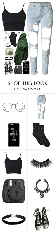 """// 11:09 PM // ITS SAD HOW LITTLE THINGS CAN BREAK MY HEART LIKE WHEN YOU SMILE..... AT HER // "" by midnightclifford ❤ liked on Polyvore featuring Ray-Ban, WithChic, Calvin Klein, Topshop, Fujifilm, Miss Selfridge and Converse"