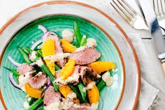Green beans lamb and toasted pine nut dressing recipe, Viva – Make the most of spring lamb and New Zealand oranges with this light colourful salad - Eat Well (formerly Bite) Green Bean Recipes, Dressing Recipe, Good Food, Fun Food, Summer Recipes, Wine Recipes, Green Beans, Lamb, Pine