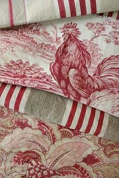 Antique Vintage Decor Antique French toile and ticking pieces ~ These are two of my fav. colors together for the home. Love the toile fabric. French Decor, French Country Decorating, Red Cottage, French Fabric, Linens And Lace, French Country Style, French Country Fabric, Fabric Wallpaper, French Vintage