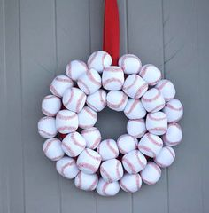 Baseball Wreath......I will make this before Opening Day 2014 in honor of my baseball loving bestest friend Jenn! :)