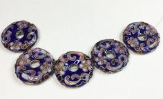 DARK BLUE CLOISSONE Donut Beads by CoseBelleByMaria on Etsy