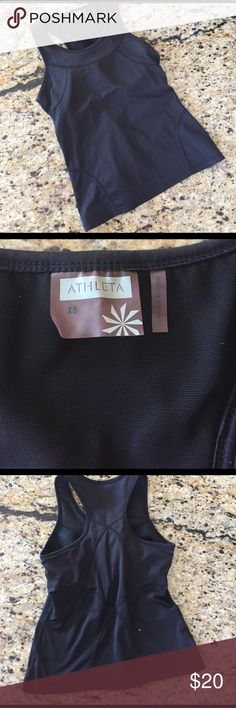 Athleta  Black Tank XS Athleta Black Tank in Size XS. Good condition, features full coverage back and padded shelf bra, see pic Athleta Tops