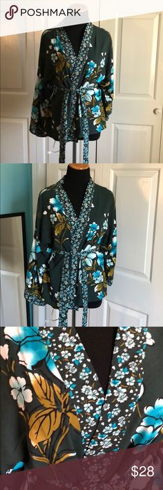 LOFT Mixed Floral Kimono Top Green and blue floral kimono with belt. Brand new with tags. Size small. LOFT Tops