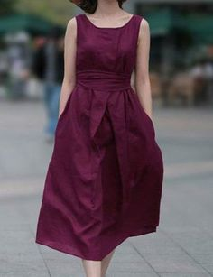 Solid Color Sleeveless Round Collar A-Line Pullover Women's Dress
